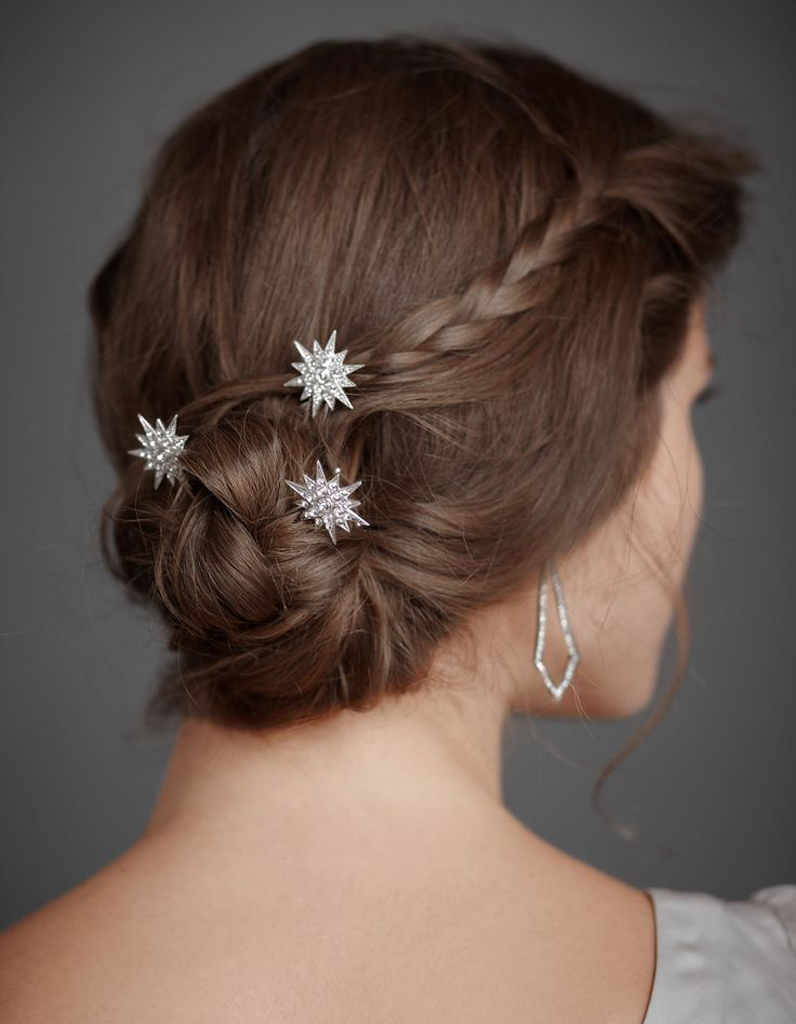 Coiffure de mariée Chignon étoilé , Les plus jolies coiffures de mariée  pour s\u0027inspirer , Elle
