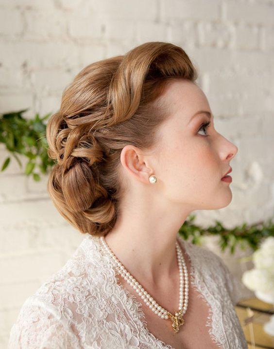 Coiffure de mariée vintage , Les plus jolies coiffures de mariée pour  s\u0027inspirer , Elle