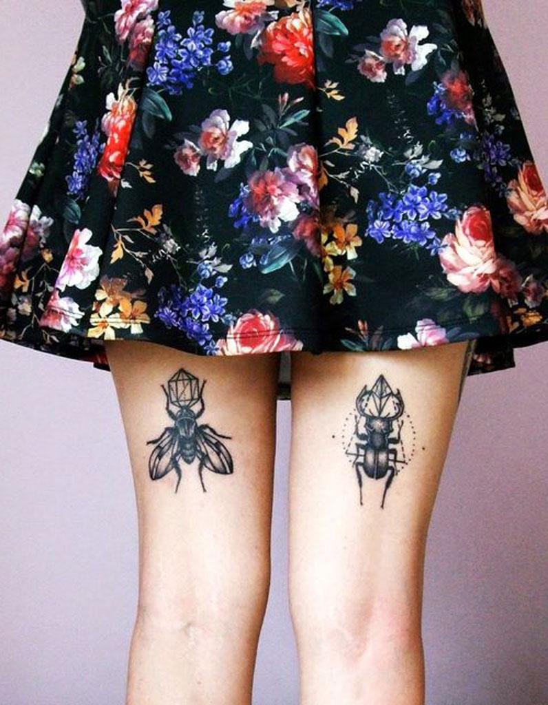 Tatouage cuisse arrière , 15 tatouages sur la cuisse qui nous font de  belles jambes , Elle