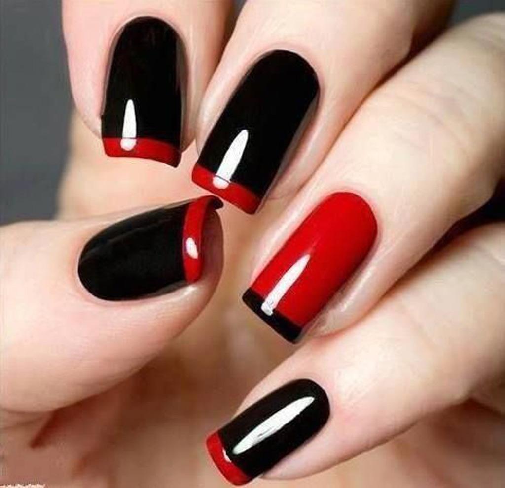 La french manucure rouge et noir , Manucure de Halloween  35 modèles plus  chics que cheap , Elle