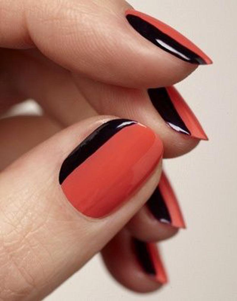 La manucure bicolore orange et noir , Manucure de Halloween  35 modèles  plus chics que cheap , Elle