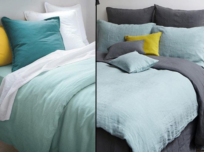 1 objet 2 budgets le linge de lit en lin merci versus celui de la redoute elle d coration. Black Bedroom Furniture Sets. Home Design Ideas