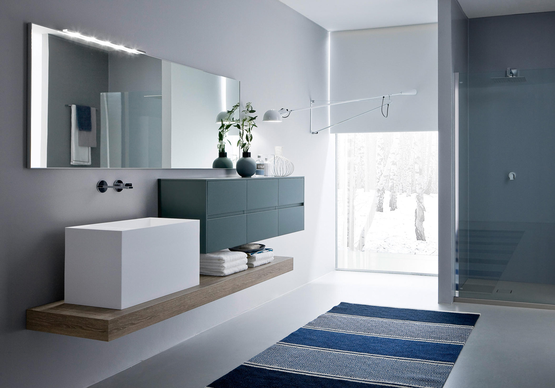Beautiful Salle De Bain Blanc Gris Bleu Idees Photos Et Id Es