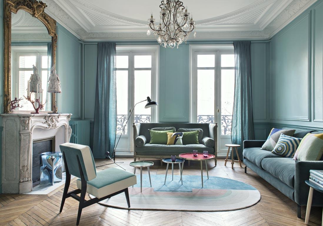 bleu turquoise et pastel le duo gagnant de cet appart haussmannien elle d coration. Black Bedroom Furniture Sets. Home Design Ideas