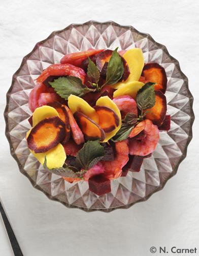 Salade crevettes, betterave et carottes pour 10 personnes
