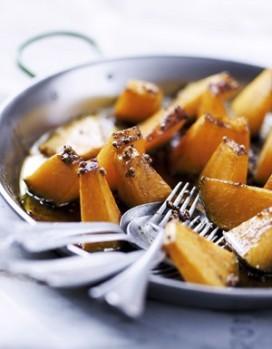 Giraumont au miel, aux épices et au four