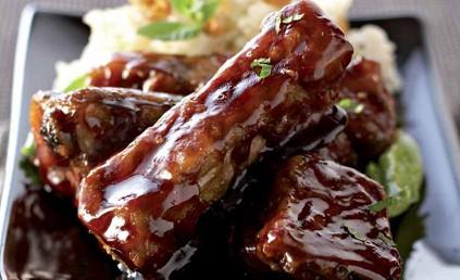 Travers de porc caram lis s sauce au gingembre et risotto - Cuisiner travers de porc ...