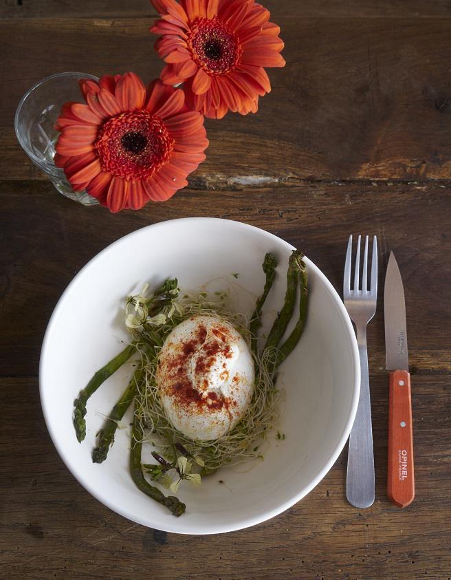 Burrata rouge et asperges vertes pour 1 personne for Table de cuisine rouge