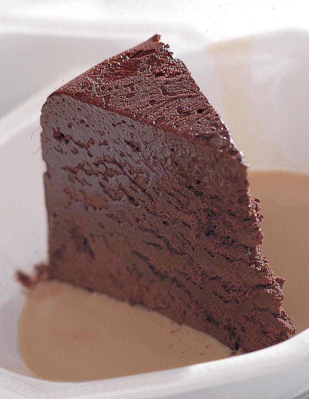 Marquise au chocolat, crème anglaise au café