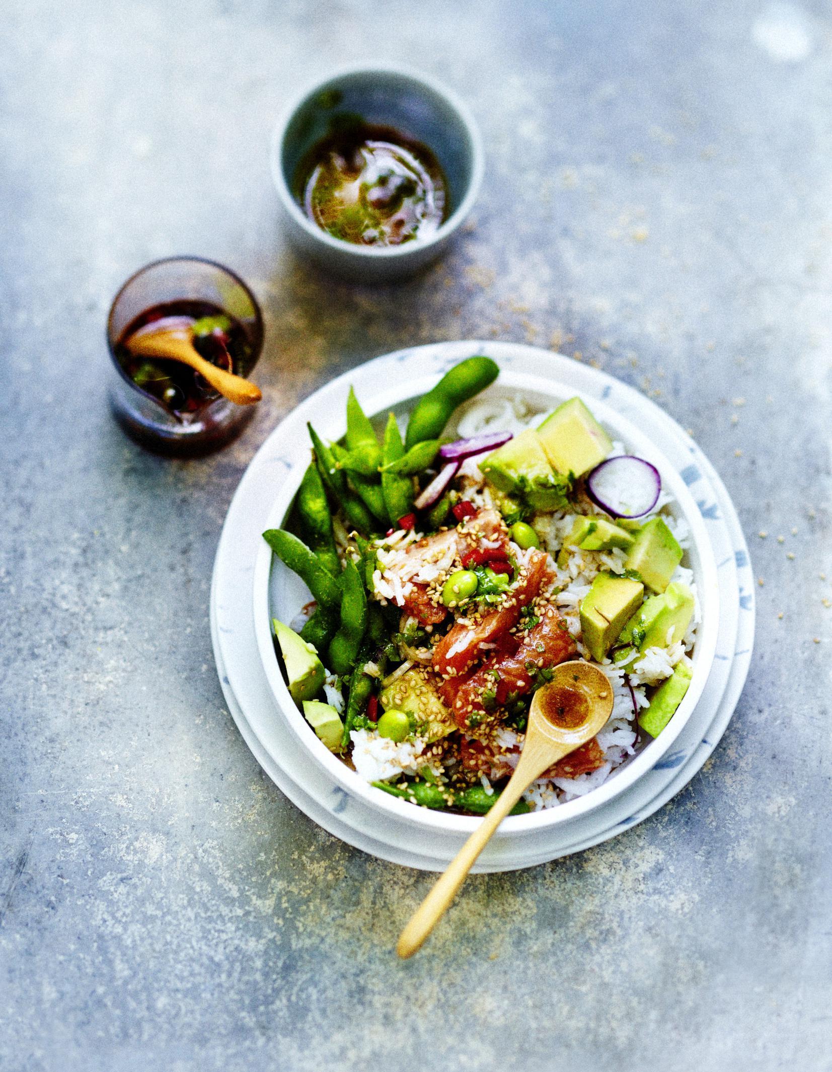 Poke bowl saumon, légumes, sauce sésame pour 6 personnes ... Aretes De Coco