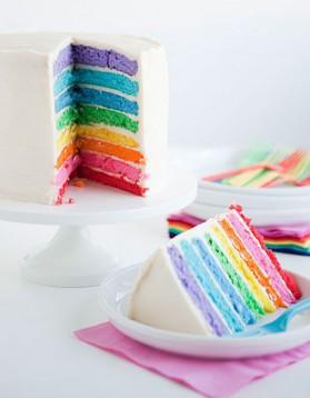 Rainbow cake pour 12 personnes Recettes Elle à Table