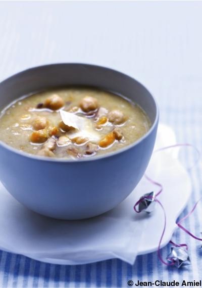 Soupe de châtaignes et pois chiches pour 4 personnes