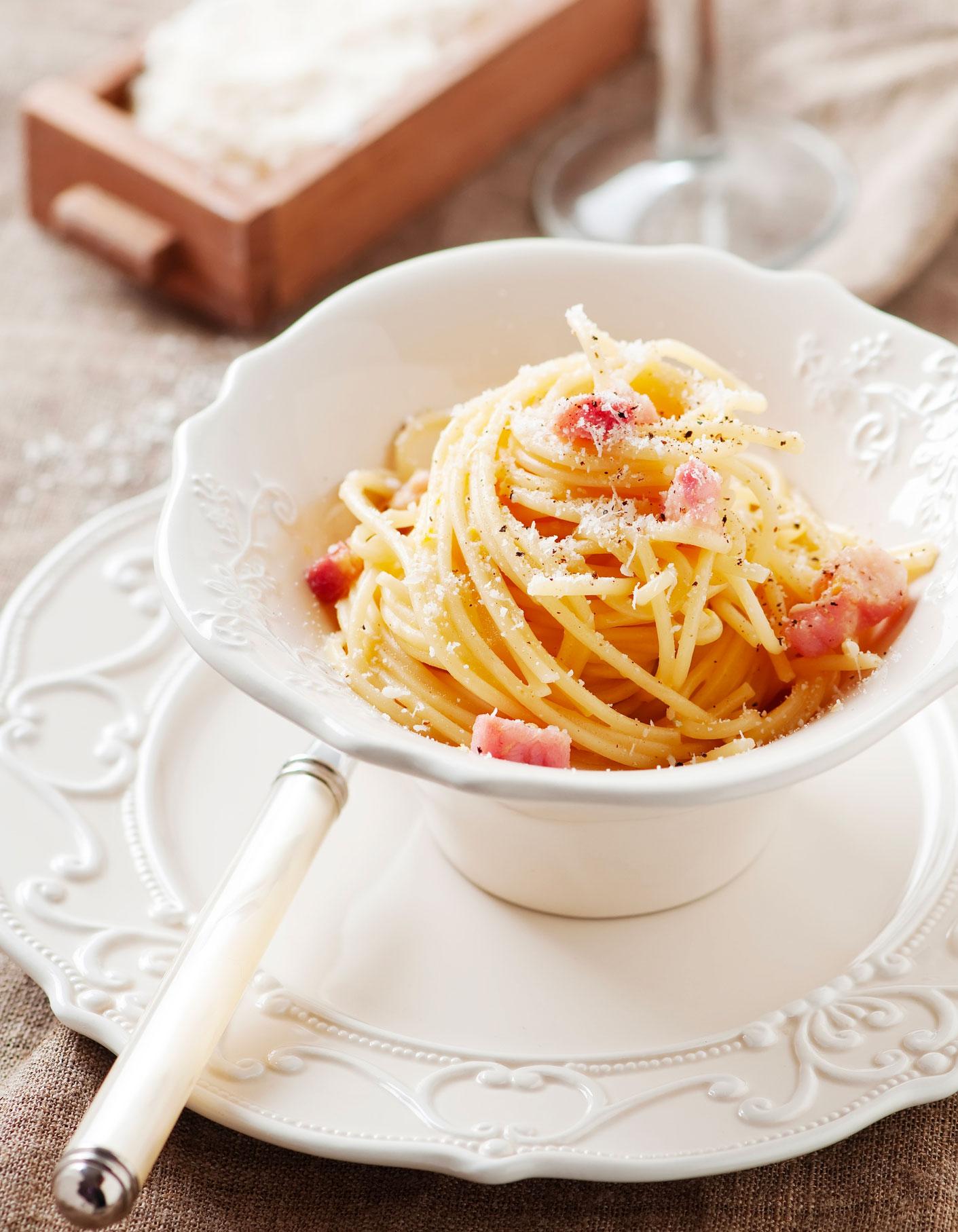 Spaghetti la carbonara thermomix pour 4 personnes recettes elle table - Repas thermomix pour 10 personnes ...