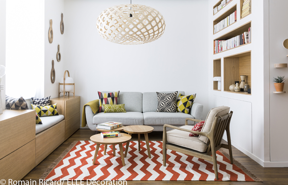 Visite en 3d d 39 un appartement malin de 40 m elle vid os for Deco salon moderne chic