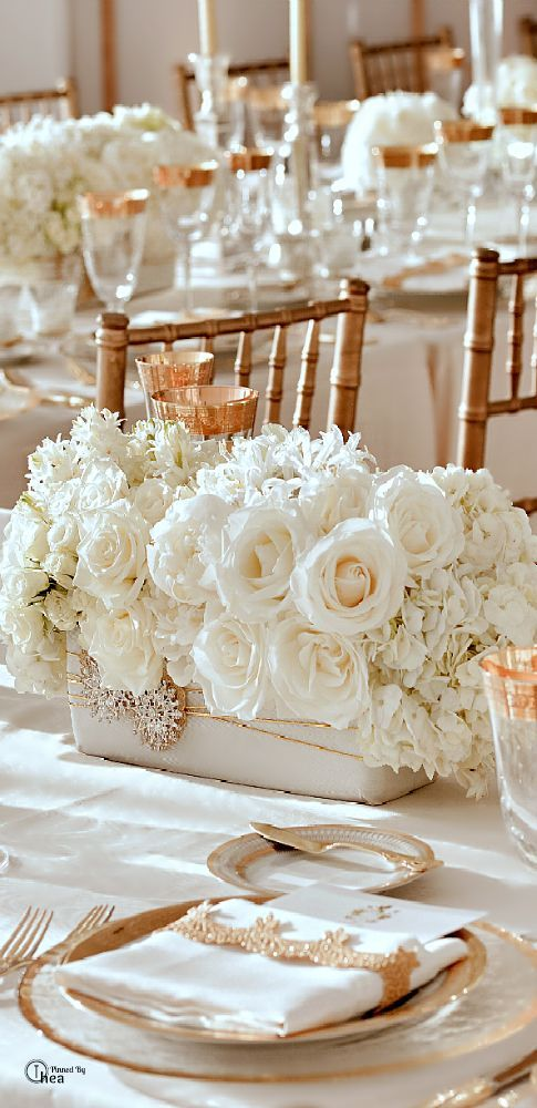 d coration de table de mariage blanc et or les d corations de tables de mariage qui font de l. Black Bedroom Furniture Sets. Home Design Ideas