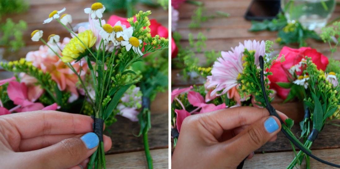 Diy couronne de fleurs comment faire une couronne de fleurs notre diy en images elle - Comment faire une couronne de fleurs ...