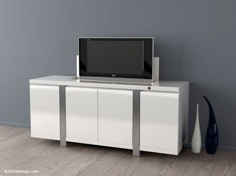 Meuble avec tele escamotable meuble de salon contemporain for Buffet avec table escamotable