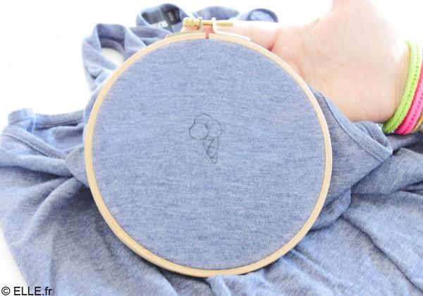 Tuto diy broderie comment broder un t shirt elle - Comment enlever du stylo sur du tissu ...