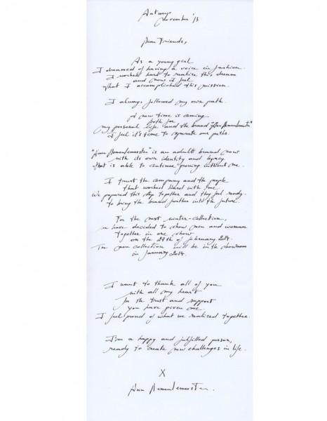 ann demeulemeeste_lettre