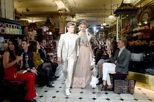 Dolce&Gabbana Italian Christmas at Harrods 02.11.2017 - Fashion Show in Harrods Food Halls - Oliver Cheshire, Pixie Lott