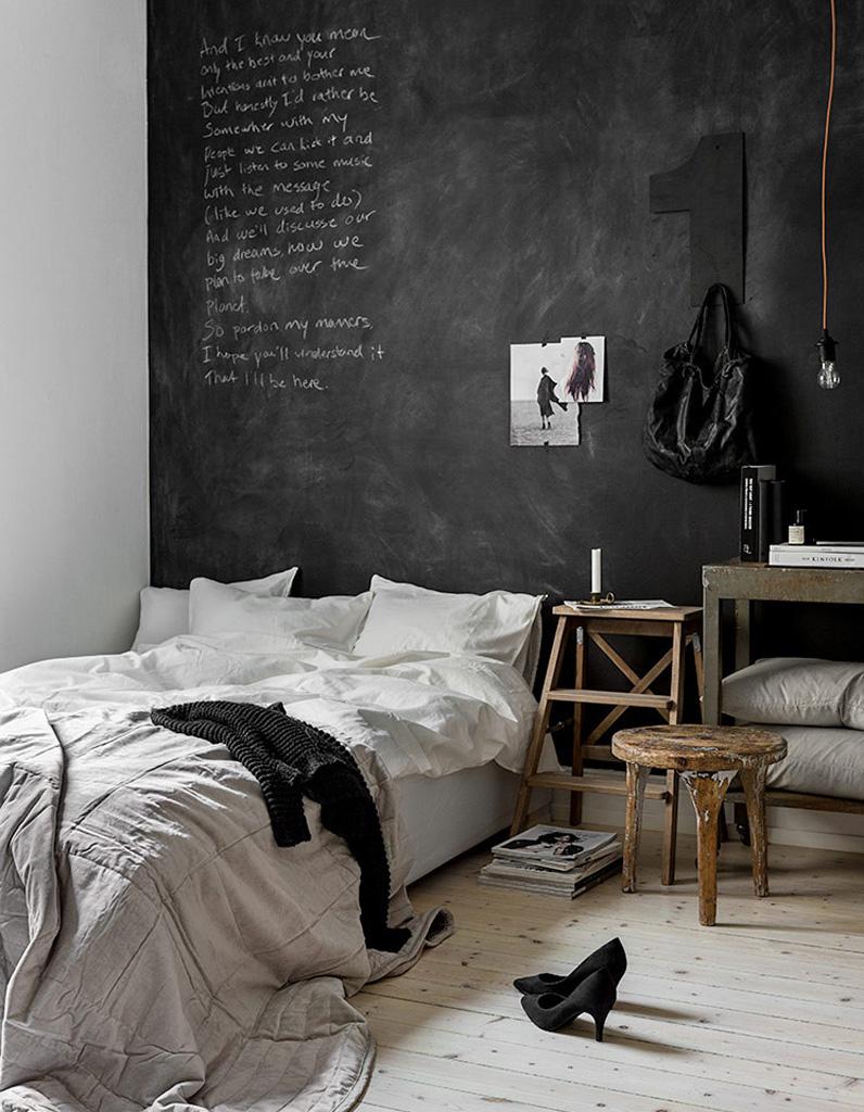 Peinture ardoise on adopte la peinture ardoise dans toute la maison elle d coration - Deco design slaapkamer ...