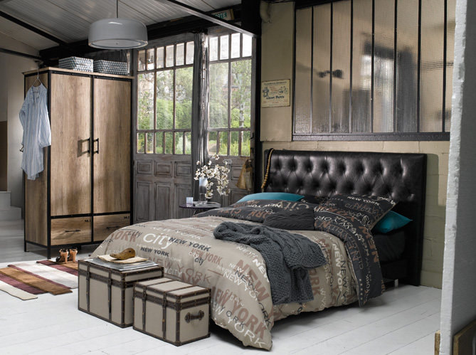 Chambre style loft industriel design de maison - Decoration industrielle maison ...
