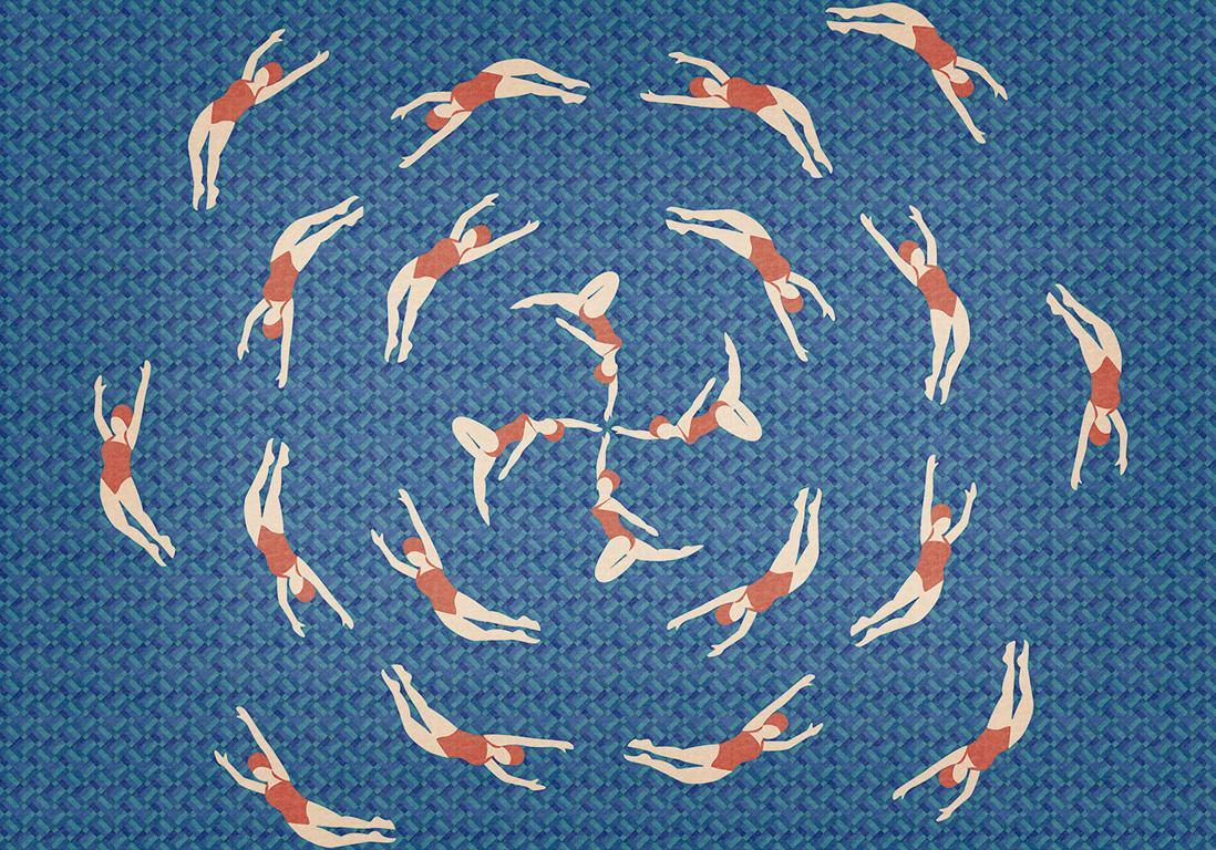 papier peint nageuses