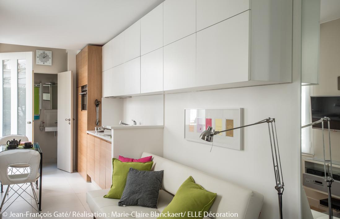 Visite en 3d d 39 un studio ultra fonctionnel elle d coration for Petit salon blanc
