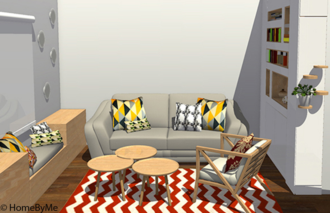 Am nager petit salon carr visite en 3d dun appartement for Decoration petit salon carre