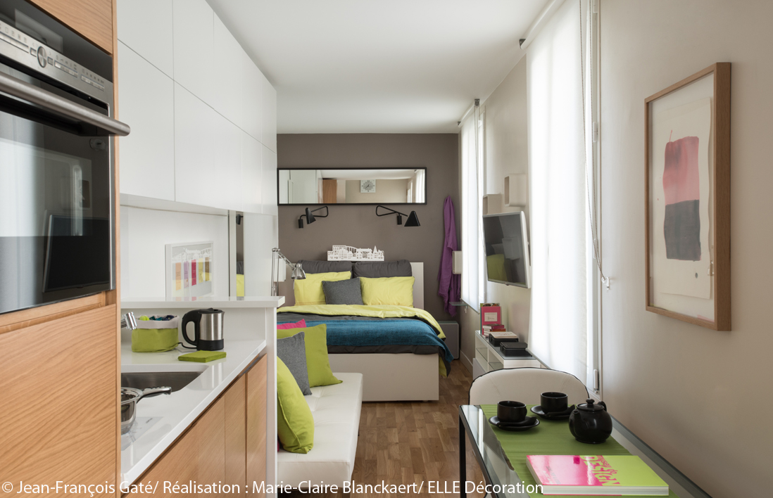 D co studio en longueur for Amenager petit appartement
