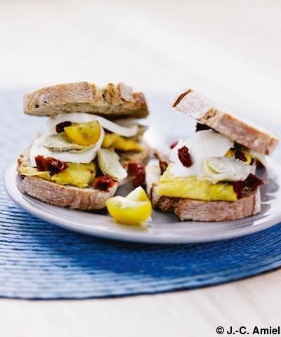 Sandwichs a l omelette basilic Et petits coeurs d artichauts