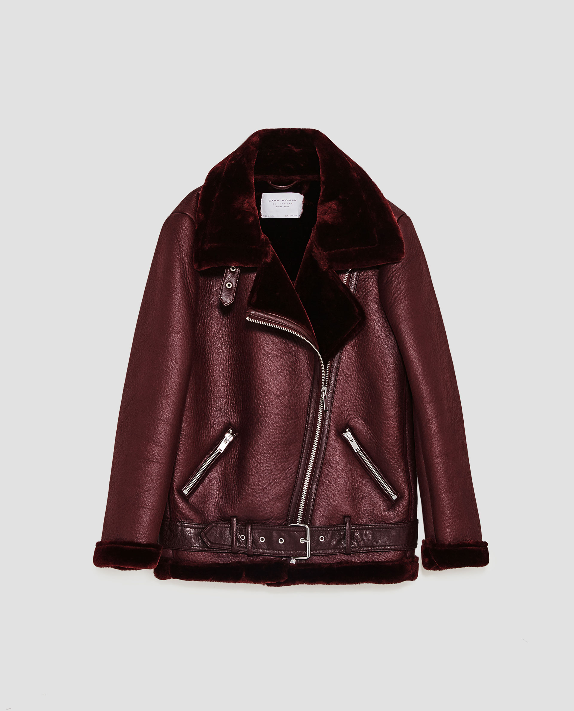 Veste en cuir marron femme zara