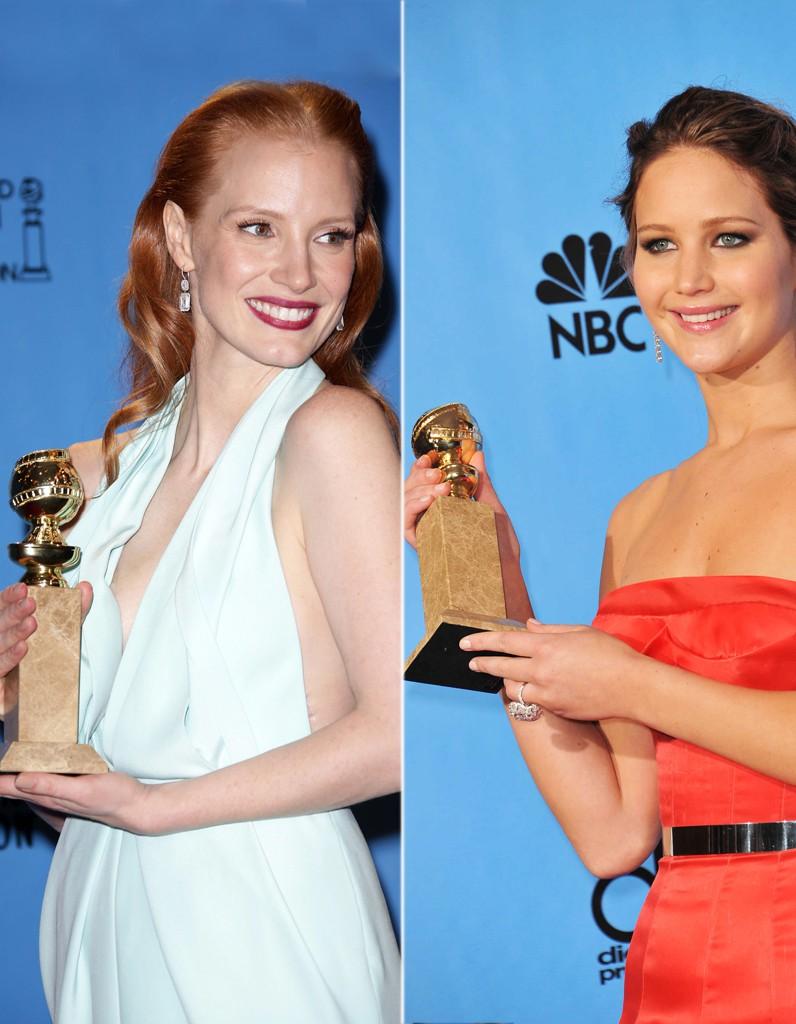 Jessica Chastain et Jennifer Lawrence stars des Golden Globes